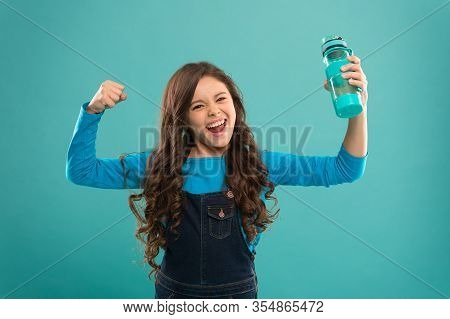 Power And Activity. Drinking Water For Health Care And Body Balance. Thirsty Kid Has Power. Drink Wa