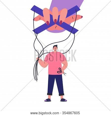 Happy Man Stop Being Manipulated And Abused.manipulation Hand.unhealthy Toxic Relationships Where A