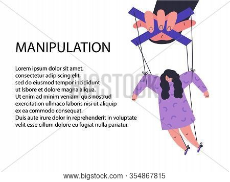 A Man Manipulates And Abuses A Woman.manipulation Male Hand.unhealthy Toxic Relationships.template W