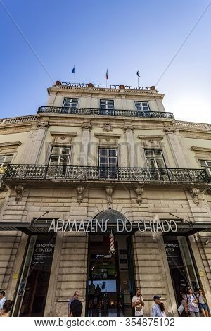 Lisbon - September 03, 2019: Facade Of The Chiado Department Store, Established On The Former Cathol