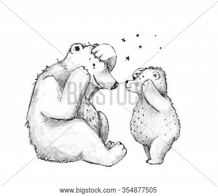Teddy Bear Mother Or Father With Cub Family Playing Game Together Black And White Sketch Cartoon.