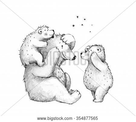 Teddy Bears Family Mother Of Dad Playing With Cubs, Hand Drawn Pencil Monochrome Sketch Illustration