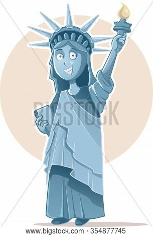 Liberty Statue Vector Caricature Celebrating  Independence Day