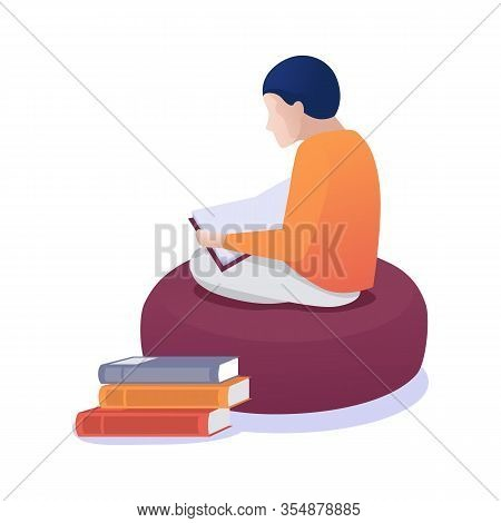 Cartoon Child Sitting On Soft Pouf. Young Faceless Person Reading Book Along. Self Educating And Lea
