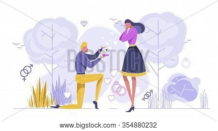Couple On Romantic Event Flat Cartoon Vector Illustration. Man On Knee Making Marriage Proposal To W