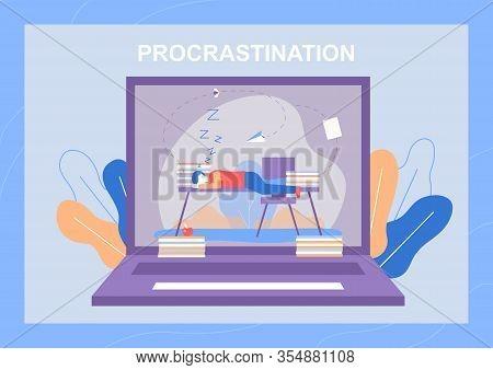 Procrastination Metaphor Banner With Bored Sleepy Man Lying On Office Desk. Vector Huge Laptop Monit