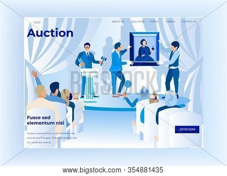 Auction Horizontal Banner, People Bidding In Public Auction House. Buyers At Masterpiece Trade, Man