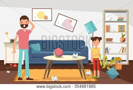 Shocked Father With His Daughter Looking At Mess In Living Room Flat Cartoon Vector Illustration. Br