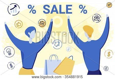 Sale Revenue Boost Flat Vector Banner Template. Happy Marketing Experts Celebrating Successful Disco