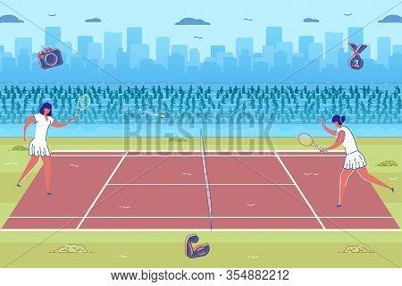 Tennis Championship. Cartoon Women In White Swortswear Play Tennis Game On Court Playground Outdoors