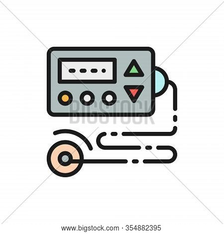 Cardiograph, Ecg, Electrocardiogram, Blood Pressure Monitor Flat Color Line Icon