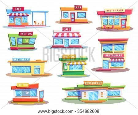 Fast Food Restaurant And Cafe Buildings, Vector Icons Set. Exteriors Of House Facades, Storefronts O