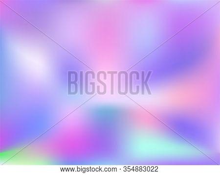 Hologram Effect Glitch Gradient Vector Design. Psychedelic Iridescent Mermaid Background. Hologram C
