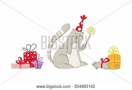 Cats Birthday Party Greeting Card - Funny Gray Kitten With Sparkler, Mouse And Gift Boxes, Cute Vect