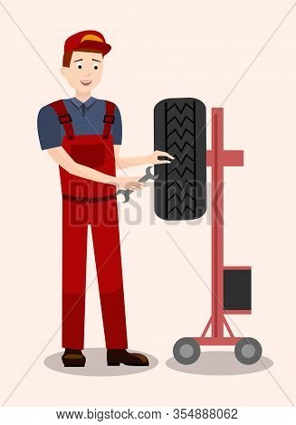 Auto Mechanic Checking Tire Flat Illustration. Cartoon Repairman With Wrench, Spanner Fixing, Adjust
