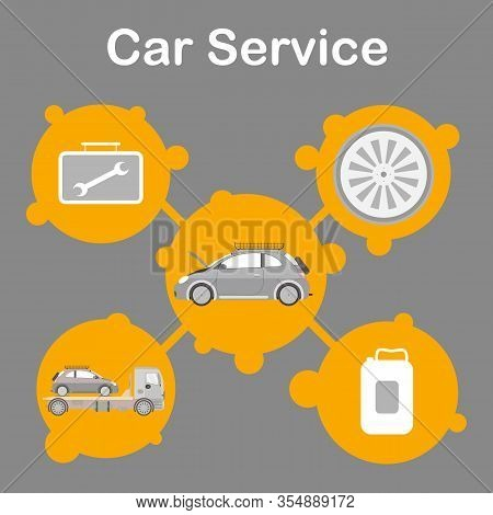 Car Service Station Promotion Flat Banner Template. Auto Maintenance Advertising Social Media Post L