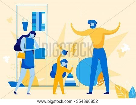 Features And Difficulties In Growth And Development Hyperactive Child. Mother And Father Trying To M