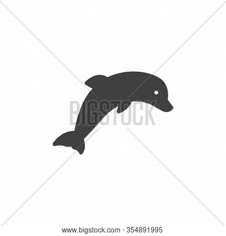 Dolphin Vector Icon. Filled Flat Sign For Mobile Concept And Web Design. Dolphin Leap Glyph Icon. Sy