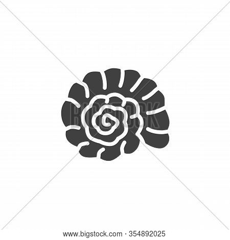 Seashell Nautilus Vector Icon. Filled Flat Sign For Mobile Concept And Web Design. Seashell Mollusk