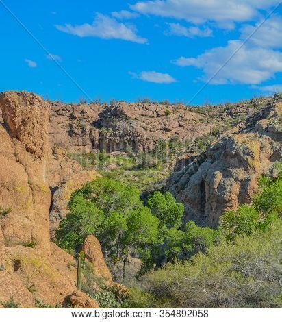 Beautiful View From Boyce Thompson Arboretum State Park Of The Magma Ridge, Superior, Arizona Usa