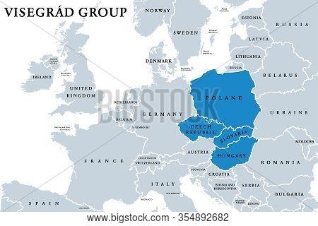 Visegrád Group Member States Political Map. Visegrád Four, V4. Cultural And Political Alliance Of Ce