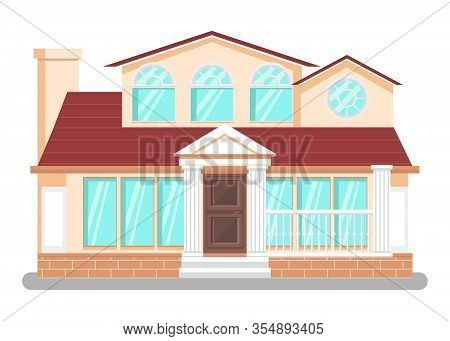 Luxury Dwelling Place Flat Vector Illustration. Detached House, Hand Drawn Villa. Courthouse, Public
