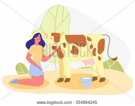 Young Brunette, Wearing Wide Brimmed Straw Hat, Is On Her Knees, Tenderly Talking To Spotted Cow, Sa
