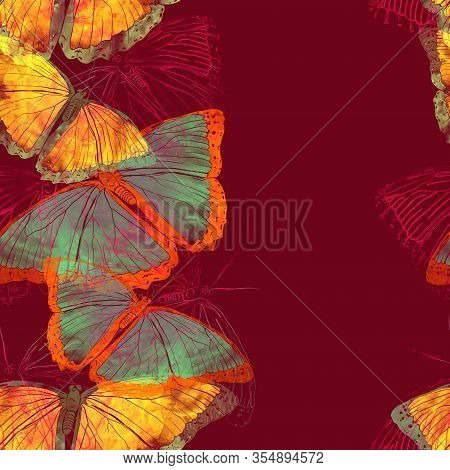 Hand Drawn Butterfly Watercolour Background. Seamless Colorful Spring Or Summer Pattern. Good Illust