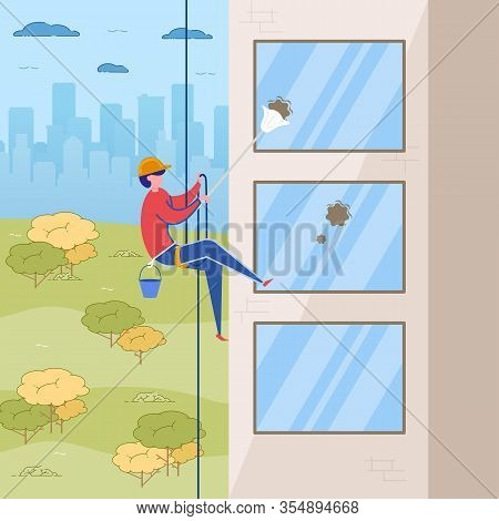 Man Cleaner In Uniform Safety Helmet Hanging On Rope Vector Illustration. Window Cleaning Service. W