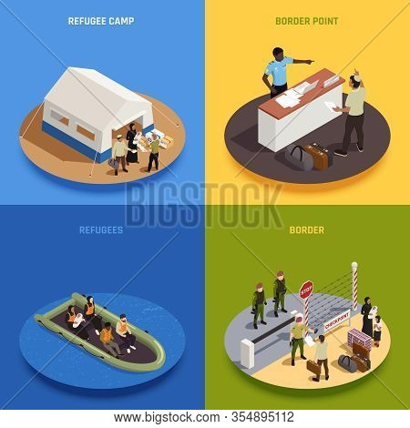Immigrants 2x2 Design Concept Set Of Illegal  Immigrants Sailing In Boat Temporary Residence Camp Bo