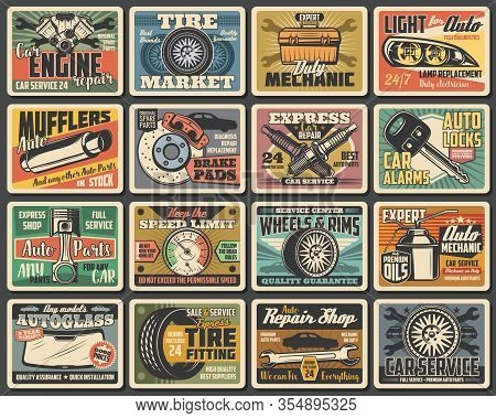 Car Service And Auto Parts Metal Plates. Vintage Vector Cards Of Repair Shop, Vehicle Wheel Tire And