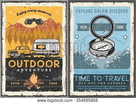 Travel, Tourism, Trailer Home Retro Posters. Vector Rv Camping House, Motorhome Caravan And Suv Pick