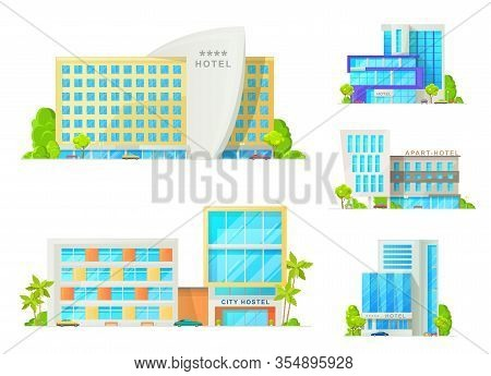 Hotel And Motel Buildings Architecture Isolated Icons. Luxury Apart Hotel, City Hostel Apartments, R