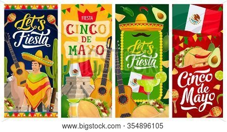 Cinco De Mayo Fiesta Party Vector Banners Of Mexican Holiday. Mexico Sombrero Hat, Maracas And Cactu