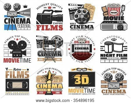 Cinema And Movie Theater, Film Making Isolated Icons Vector Set. Retro Film Reel, Popcorn And 3d Gla