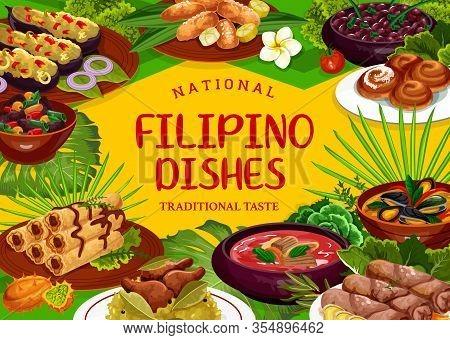 Filipino Cuisine Restaurant Food Dishes Vector Poster. Pochero Soup, Fried Bananas In Batter, Adobo