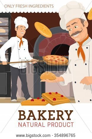 Chefs Bakers Make Bread And Pastry Production In Bakery Shop. Cartoon Vector Characters In White Coo