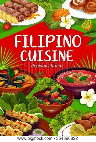 Filipino Cuisine, National Asian Food Dishes Vector Poster. Pochero Soup, Eggplant Thalong, Mussels