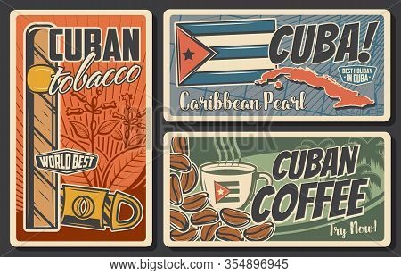 Cuba Travel Vector Retro Posters Set. Cuban Tobacco And Guillotine Cigar Cutter, Coffee Cup And Bean