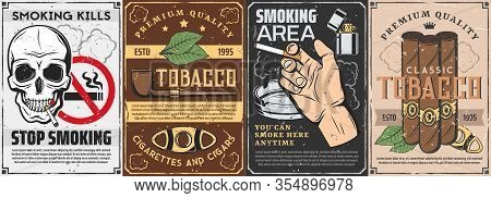 Tobacco And Smoking Items Retro Posters. Vector Cigars, Pipe With Premium Quality Label And Cutter,