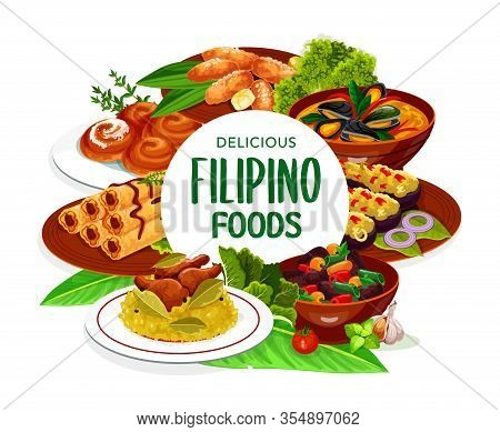 Filipino Asian Cuisine, Dishes Food Frame. Lump With Meat, Eggplant Thalong, Bicolar Express, Filipi