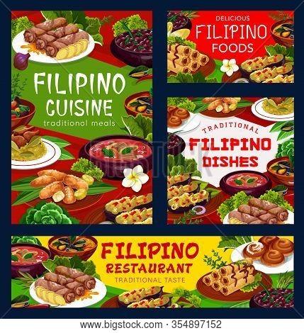Filipino Cuisine Asian Food Vector Posters, Restaurant Dish Pochero Soup, Fried Bananas In Batter, M