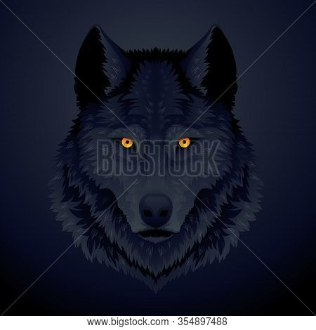 The Vector Logo Wolf For T-shirt Design Or Outwear. Hunting Style Wolf Background