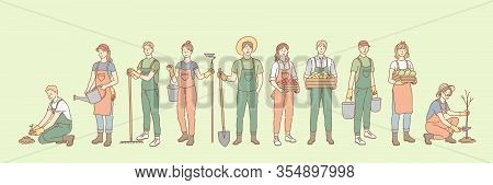 Farming, Rural Life, Gardening , Agriculture Set Concept. Group Young Of People, Men, Women, Agricul