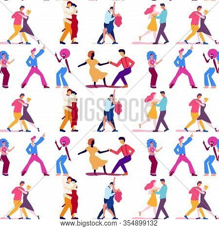 Seamless Vector Pattern With Funny Cartoon People Dancing In Couples On White Background. Funky Man