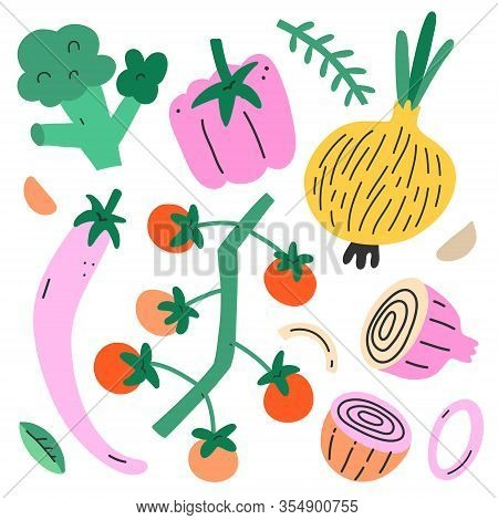 Veg Set, Collection Of Cute Doodle Organic Vegetables, Isolated Vector Illustration Of Chilipepper,