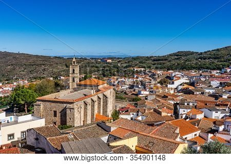 View Of The Town Of Montanchez With The Church Of St Matthew, San Mateo In Extremadura. Spain.