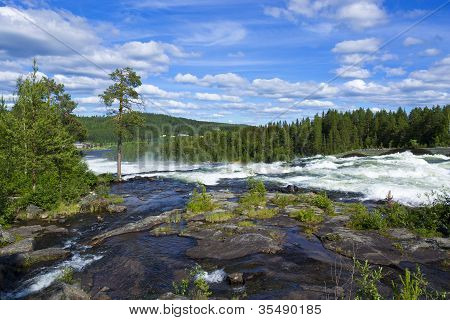 Storforsen large waterfall in Sweden