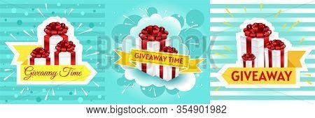 Giveaway Winner Poster. Gift Offer Banner, Giveaways Post And Gifts Prize Flyer. Gift Box Vector Ill