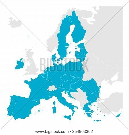 Political Map Of Europe With Blue Highlighted 27 European Union, Eu, Member States After Brexit In 2
